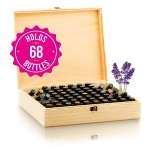 wooden essential oils storage box