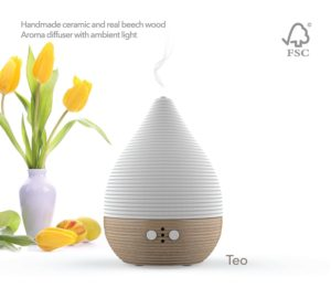 The Pilgrim Teo Diffuser with Handmade Ceramic Topper and Real Beech Wood (FSC Certified) Base.